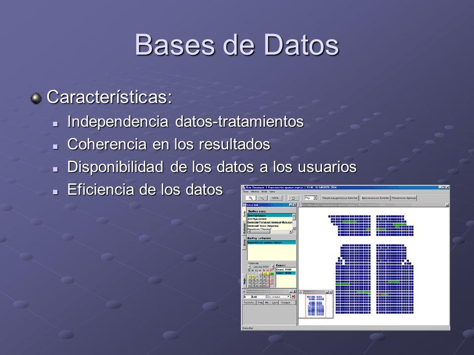 Bases de Datos Características: Independencia datos-tratamientos