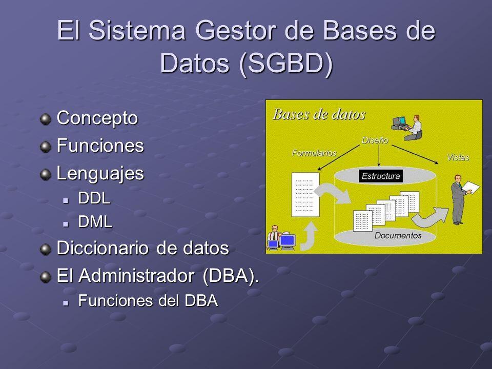 El Sistema Gestor de Bases de Datos (SGBD)