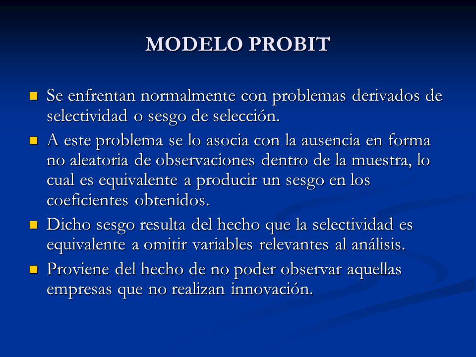 MODELO PROBIT Se enfrentan normalmente con problemas derivados de selectividad o sesgo de selección.