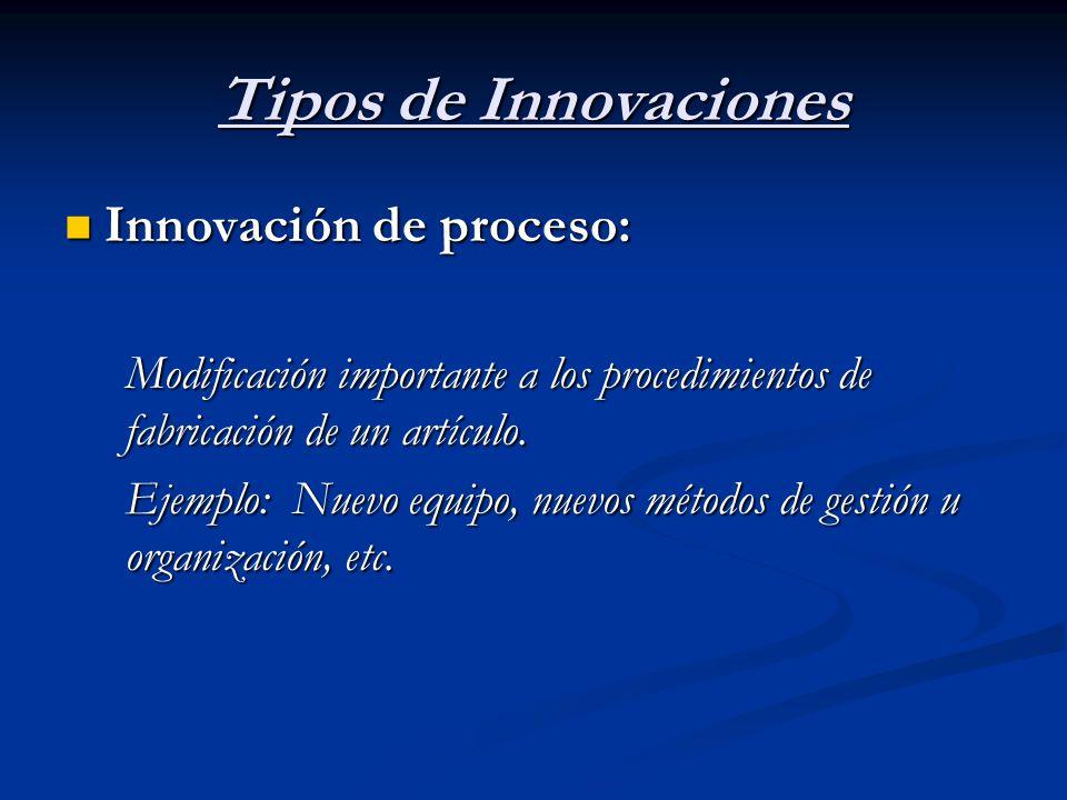 Tipos de Innovaciones Innovación de proceso: