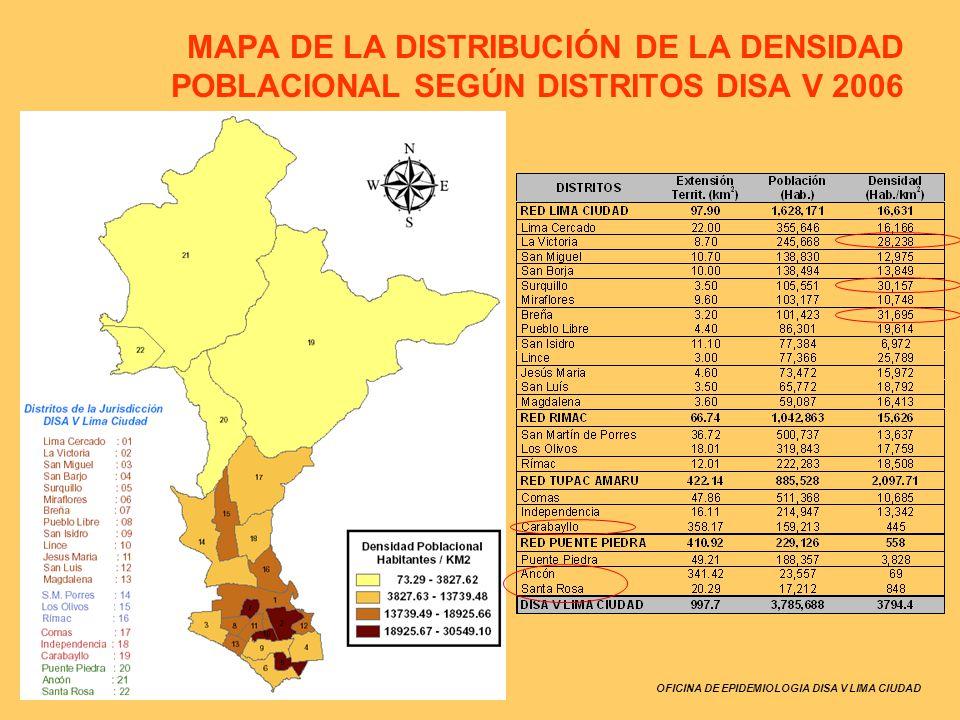 MAPA DE LA DISTRIBUCIÓN DE LA DENSIDAD POBLACIONAL SEGÚN DISTRITOS DISA V 2006