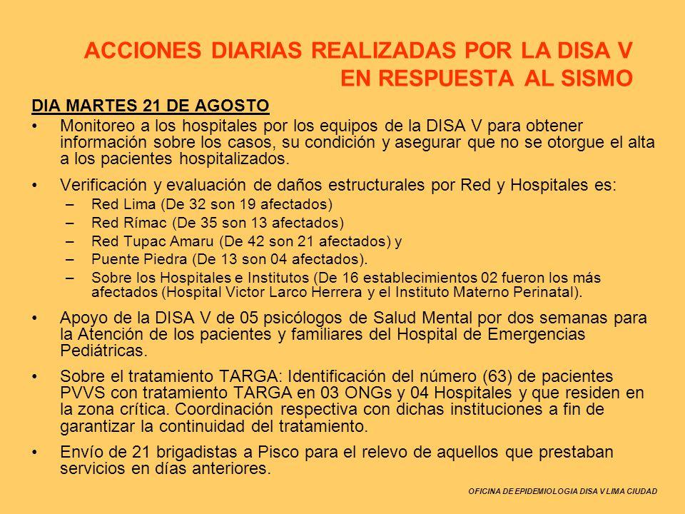 ACCIONES DIARIAS REALIZADAS POR LA DISA V EN RESPUESTA AL SISMO