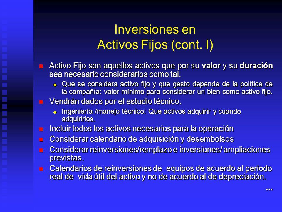 Inversiones en Activos Fijos (cont. I)
