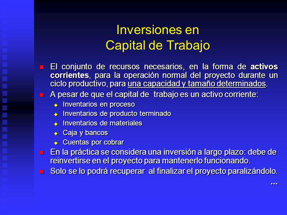 Inversiones en Capital de Trabajo