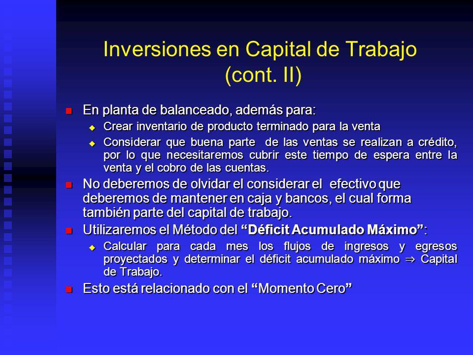 Inversiones en Capital de Trabajo (cont. II)