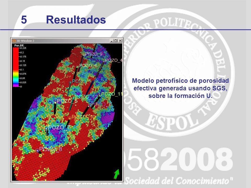 5 Resultados Modelo petrofísico de porosidad efectiva generada usando SGS, sobre la formación U.