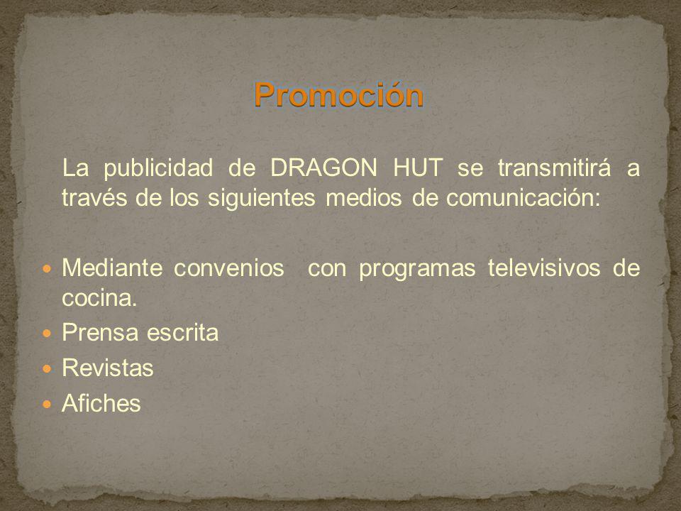 Promoción La publicidad de DRAGON HUT se transmitirá a través de los siguientes medios de comunicación: