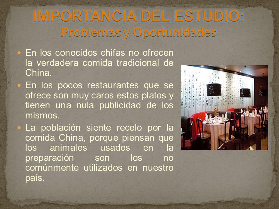 IMPORTANCIA DEL ESTUDIO: Problemas y Oportunidades
