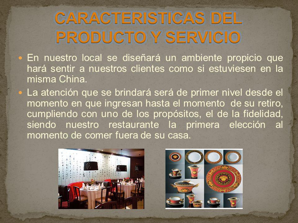CARACTERISTICAS DEL PRODUCTO Y SERVICIO