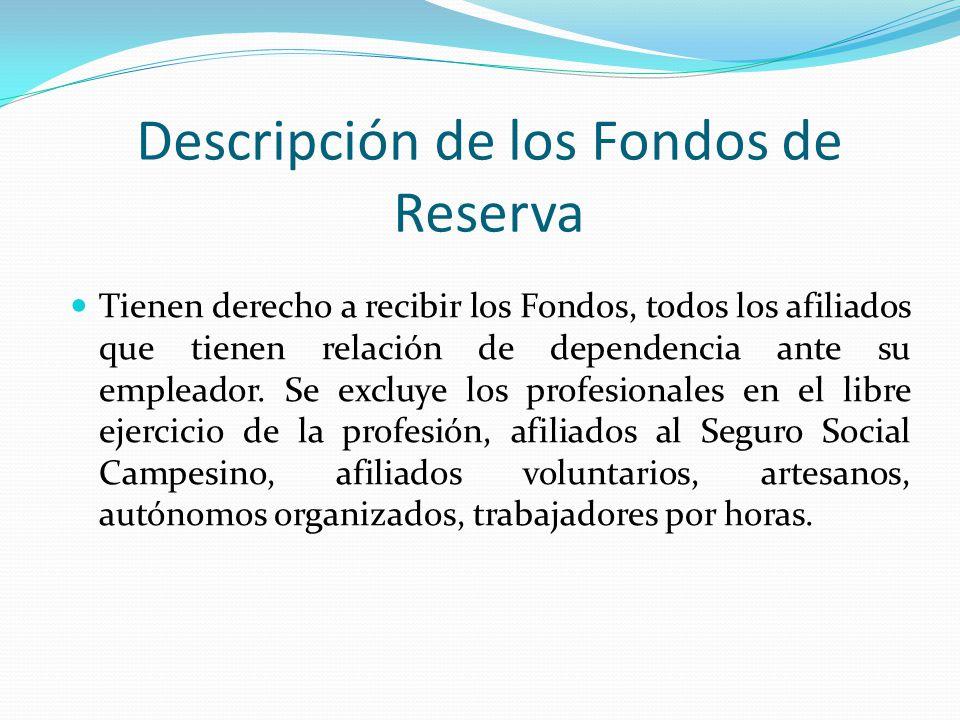 Descripción de los Fondos de Reserva