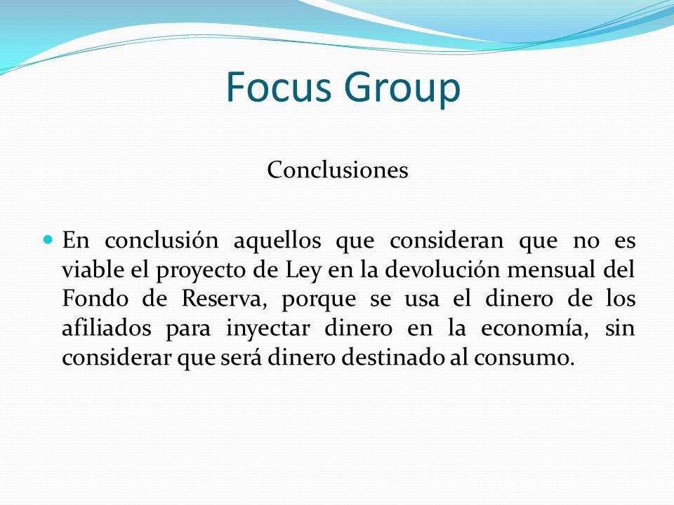 Focus Group Conclusiones