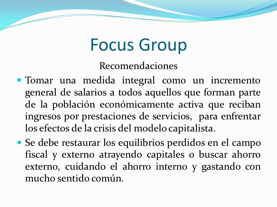 Focus Group Recomendaciones