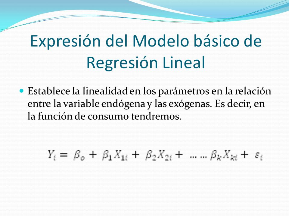 Expresión del Modelo básico de Regresión Lineal
