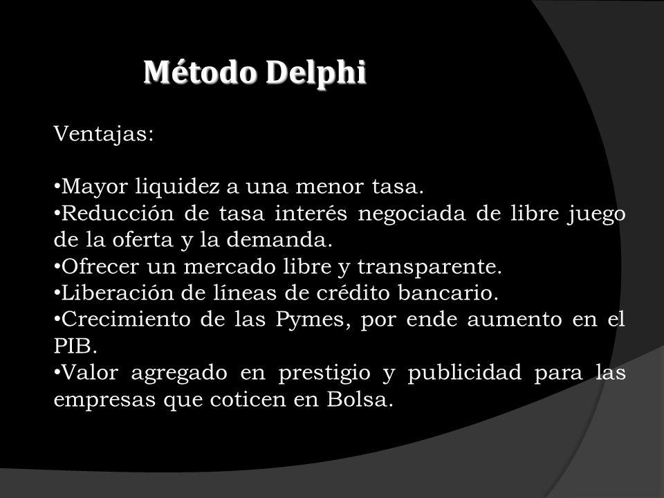 Método Delphi Ventajas: Mayor liquidez a una menor tasa.
