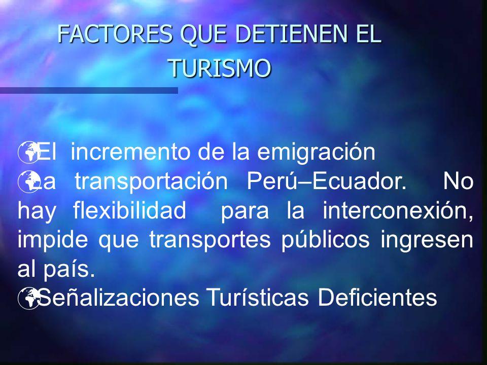 FACTORES QUE DETIENEN EL TURISMO