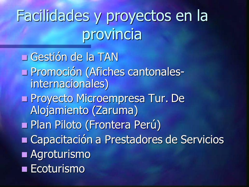Facilidades y proyectos en la provincia