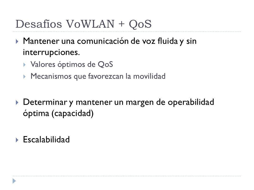 Desafíos VoWLAN + QoS Mantener una comunicación de voz fluida y sin interrupciones. Valores óptimos de QoS.