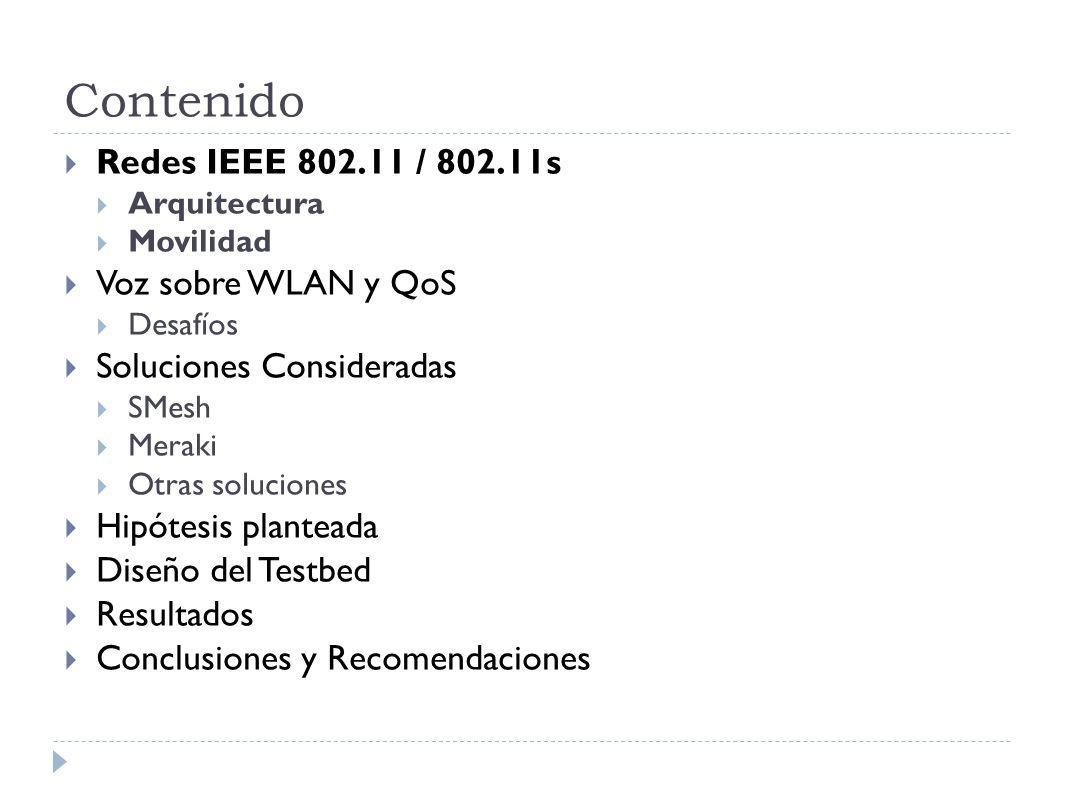 Contenido Redes IEEE 802.11 / 802.11s Voz sobre WLAN y QoS