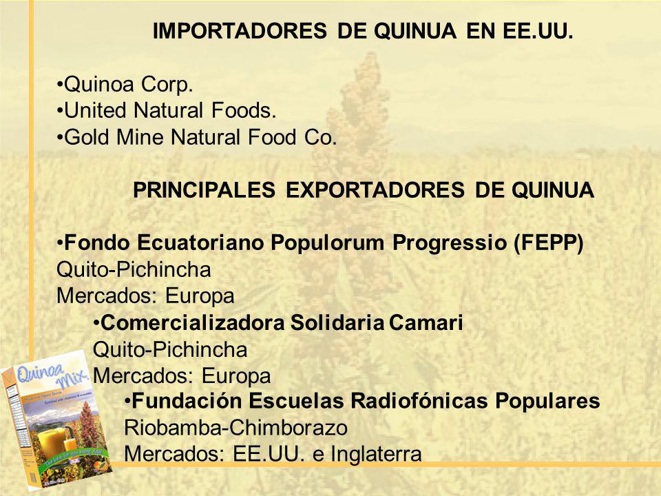 IMPORTADORES DE QUINUA EN EE.UU. PRINCIPALES EXPORTADORES DE QUINUA
