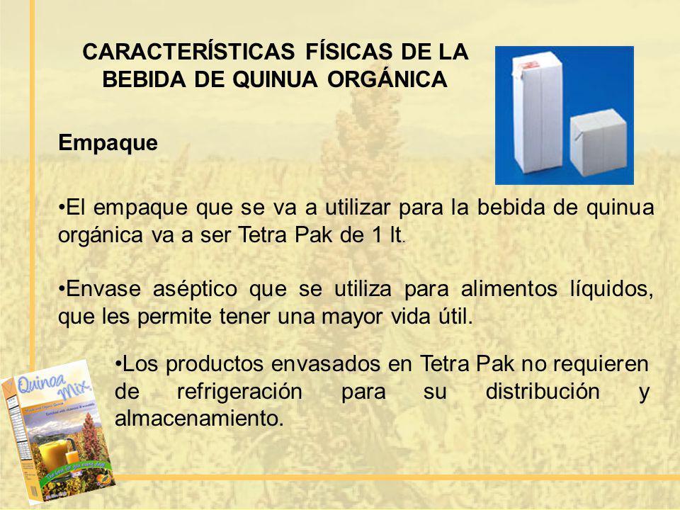 CARACTERÍSTICAS FÍSICAS DE LA BEBIDA DE QUINUA ORGÁNICA