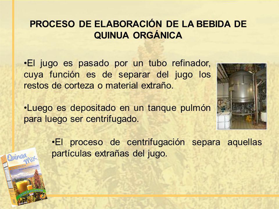 PROCESO DE ELABORACIÓN DE LA BEBIDA DE QUINUA ORGÁNICA