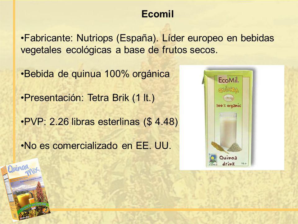 Ecomil Fabricante: Nutriops (España). Líder europeo en bebidas vegetales ecológicas a base de frutos secos.