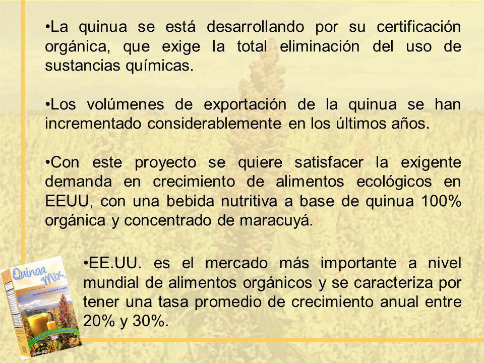 La quinua se está desarrollando por su certificación orgánica, que exige la total eliminación del uso de sustancias químicas.