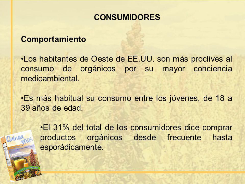 CONSUMIDORES Comportamiento. Los habitantes de Oeste de EE.UU. son más proclives al consumo de orgánicos por su mayor conciencia medioambiental.