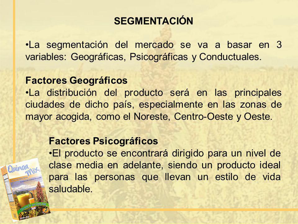 SEGMENTACIÓN La segmentación del mercado se va a basar en 3 variables: Geográficas, Psicográficas y Conductuales.