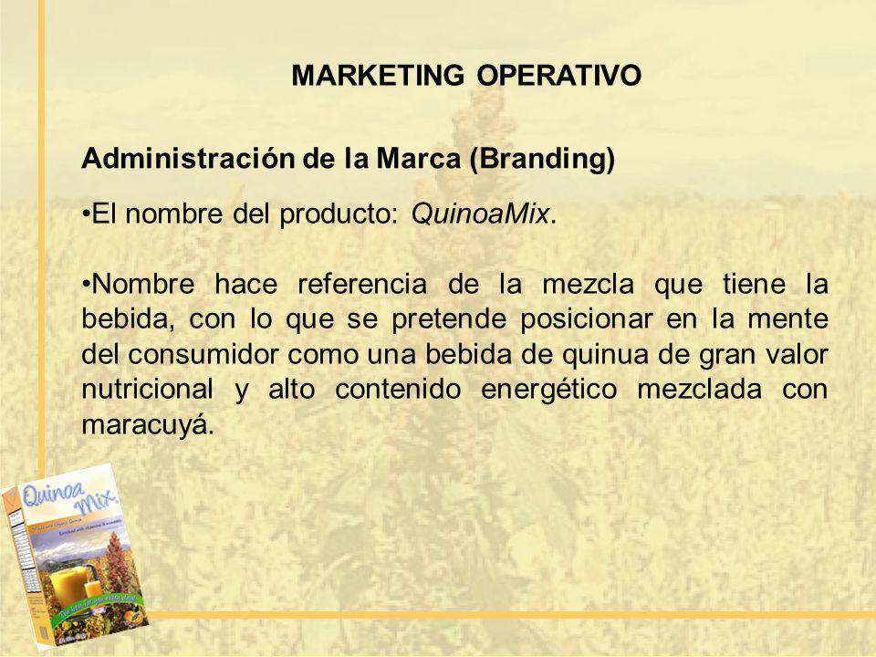 MARKETING OPERATIVO Administración de la Marca (Branding) El nombre del producto: QuinoaMix.