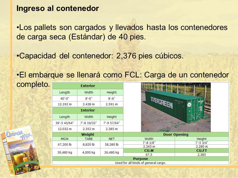 Ingreso al contenedor Los pallets son cargados y llevados hasta los contenedores de carga seca (Estándar) de 40 pies.