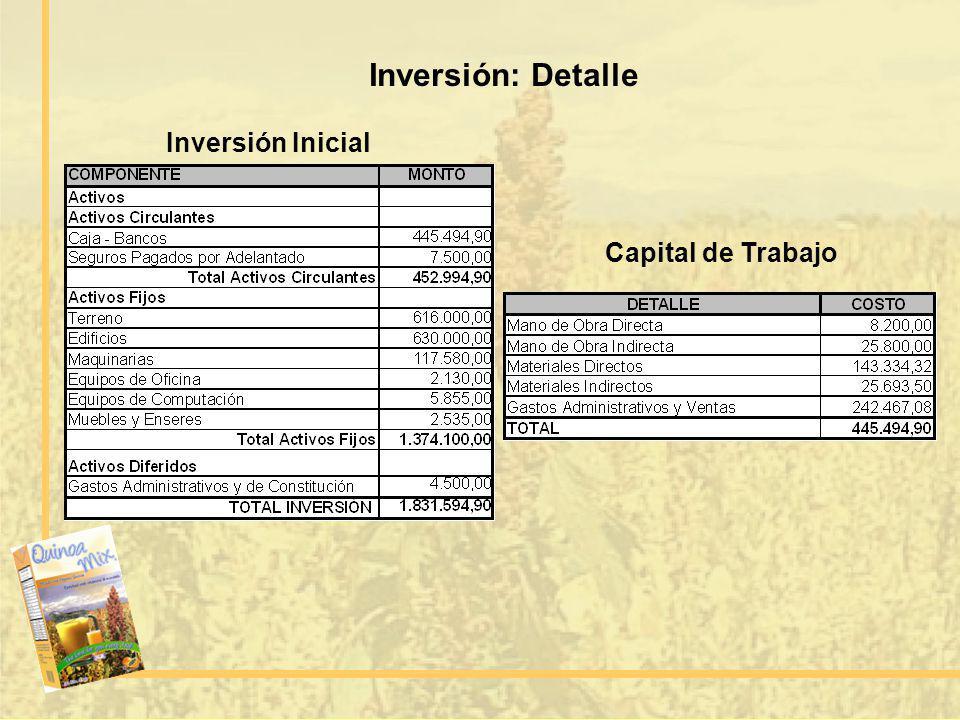 Inversión: Detalle Inversión Inicial Capital de Trabajo