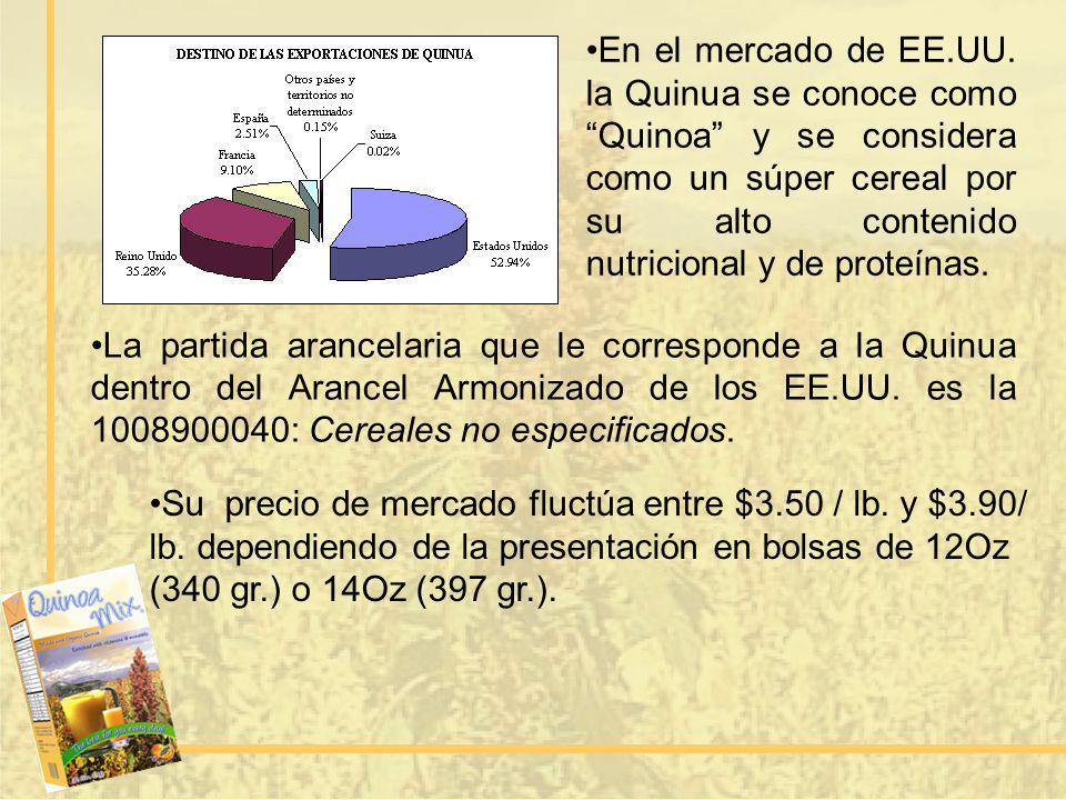 En el mercado de EE.UU. la Quinua se conoce como Quinoa y se considera como un súper cereal por su alto contenido nutricional y de proteínas.