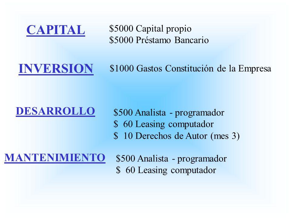 CAPITAL INVERSION DESARROLLO MANTENIMIENTO $5000 Capital propio