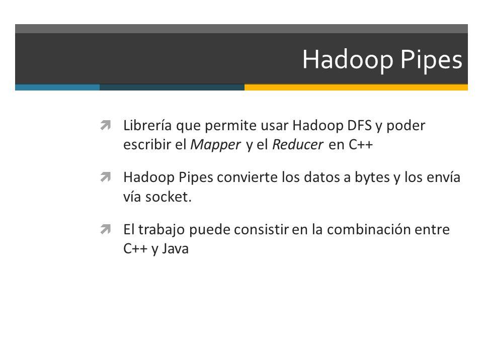 Hadoop Pipes Librería que permite usar Hadoop DFS y poder escribir el Mapper y el Reducer en C++