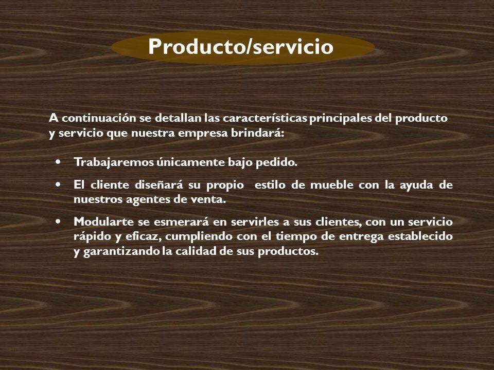 Producto/servicio A continuación se detallan las características principales del producto y servicio que nuestra empresa brindará: