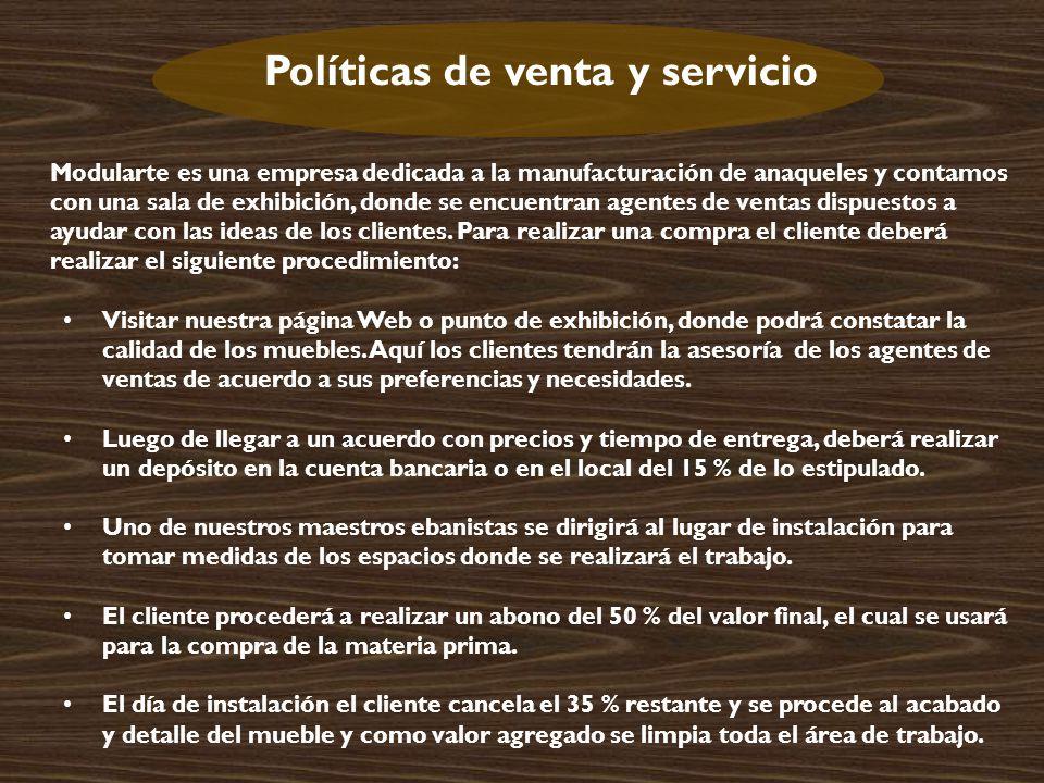 Políticas de venta y servicio
