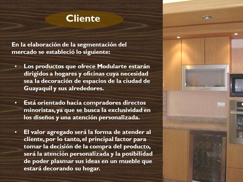 Cliente En la elaboración de la segmentación del mercado se estableció lo siguiente: