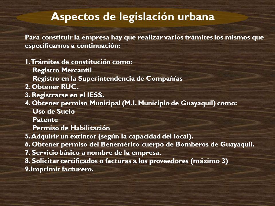 Aspectos de legislación urbana
