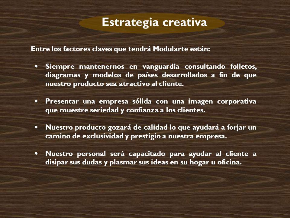 Estrategia creativa Entre los factores claves que tendrá Modularte están: