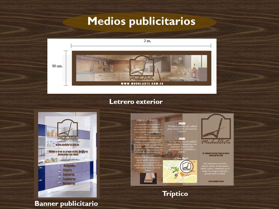 Medios publicitarios Letrero exterior Tríptico Banner publicitario
