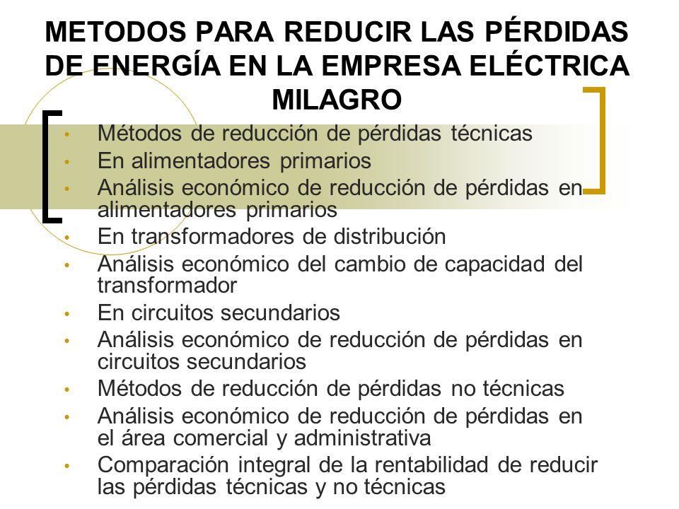 METODOS PARA REDUCIR LAS PÉRDIDAS DE ENERGÍA EN LA EMPRESA ELÉCTRICA MILAGRO