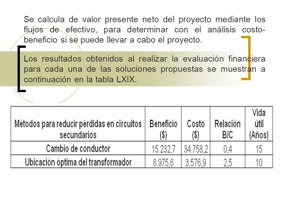 Se calcula de valor presente neto del proyecto mediante los flujos de efectivo, para determinar con el análisis costo-beneficio si se puede llevar a cabo el proyecto.