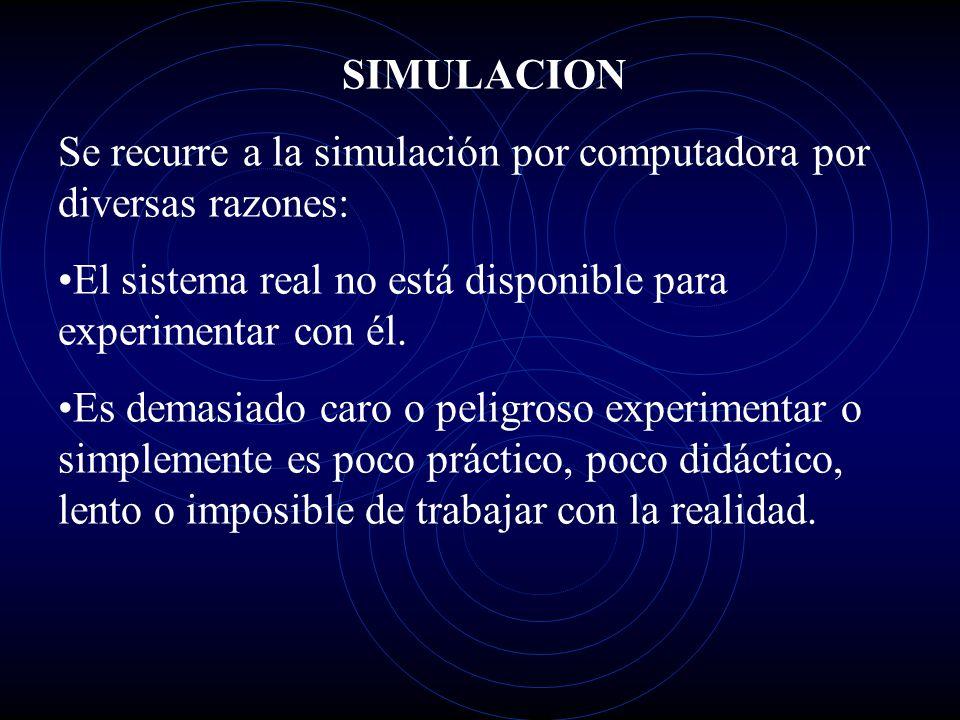 SIMULACION Se recurre a la simulación por computadora por diversas razones: El sistema real no está disponible para experimentar con él.