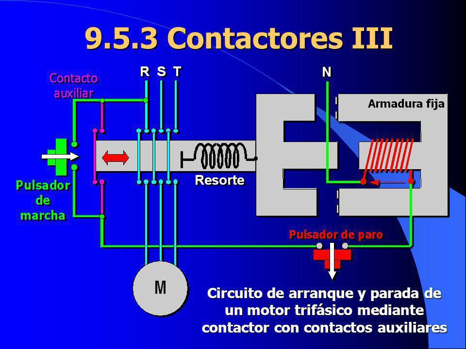 9.5.3 Contactores III Circuito de arranque y parada de un motor trifásico mediante contactor con contactos auxiliares.