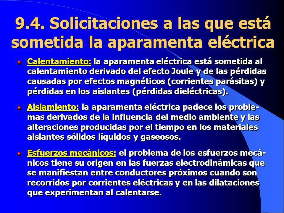 9.4. Solicitaciones a las que está sometida la aparamenta eléctrica