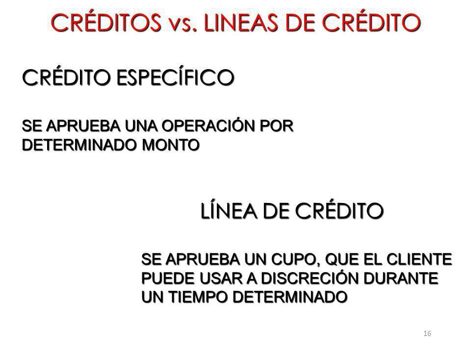CRÉDITOS vs. LINEAS DE CRÉDITO