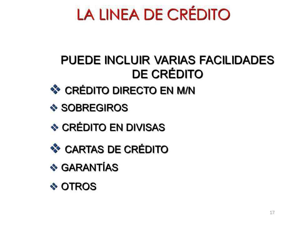 PUEDE INCLUIR VARIAS FACILIDADES DE CRÉDITO