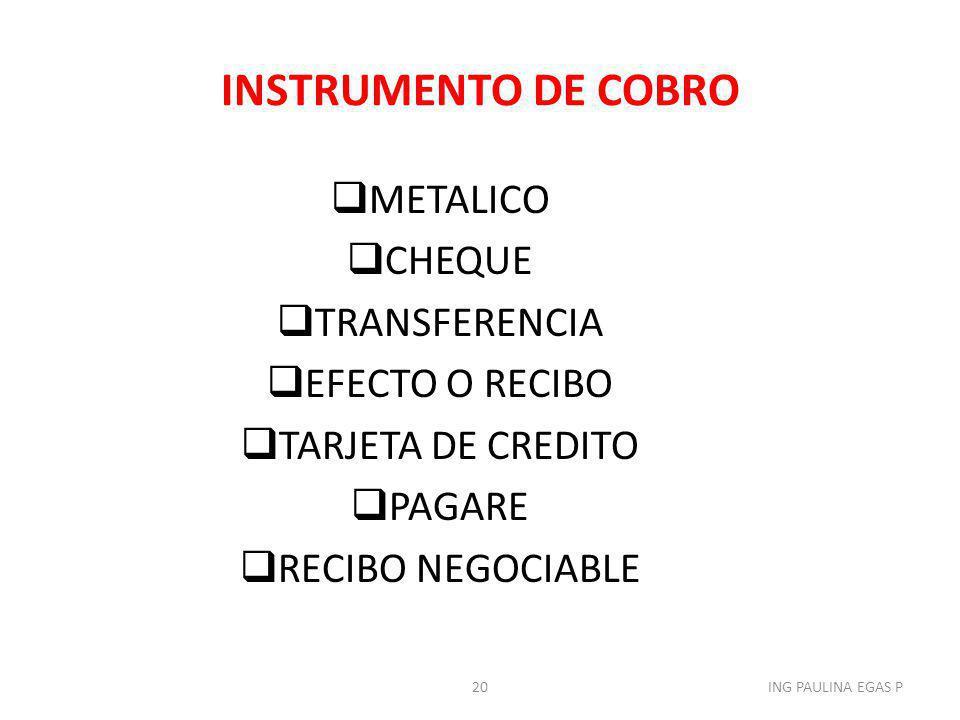 INSTRUMENTO DE COBRO METALICO CHEQUE TRANSFERENCIA EFECTO O RECIBO