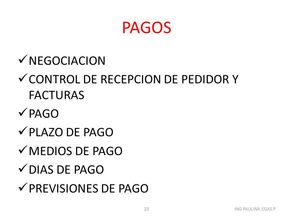 PAGOS NEGOCIACION CONTROL DE RECEPCION DE PEDIDOR Y FACTURAS PAGO
